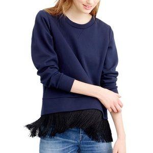 New! J Crew Fringe Sweatshirt Size XL